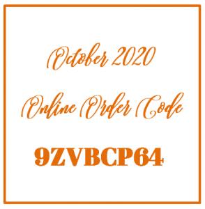 October 2020 Online Order Code